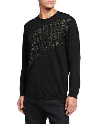 2cebe2b78f7 Men's Punched FF Logo Wool Knit Sweater Quick Look. Fendi