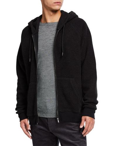 Men's Teddy Terry Zip-Up Hoodie Sweatshirt