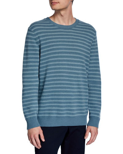 Men's Shadow Stripe Merino Wool Crewneck Sweater