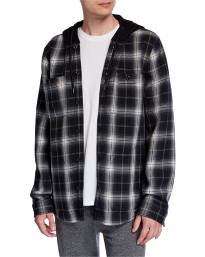 Men's Hooded Plaid Shirt Jacket
