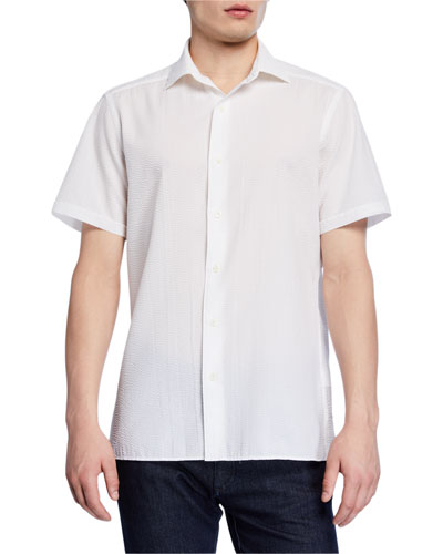 Men's Seersucker Short-Sleeve Sport Shirt  White