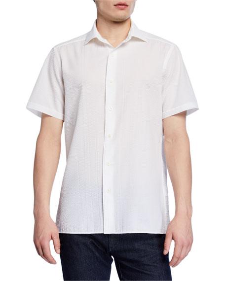 Men's Seersucker Short-Sleeve Sport Shirt, White