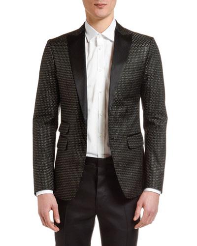 Men's Textured Silk-Blend Evening Jacket