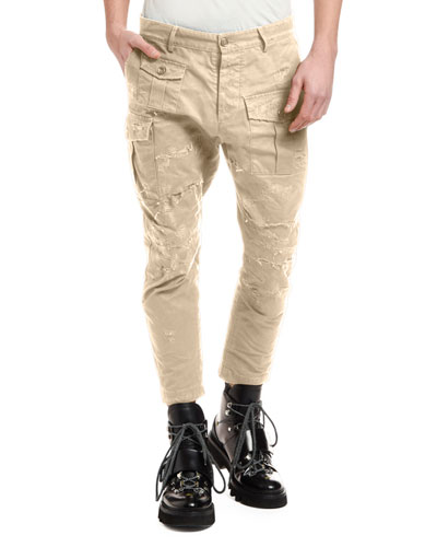 Men's Distressed Chino Cargo Pants