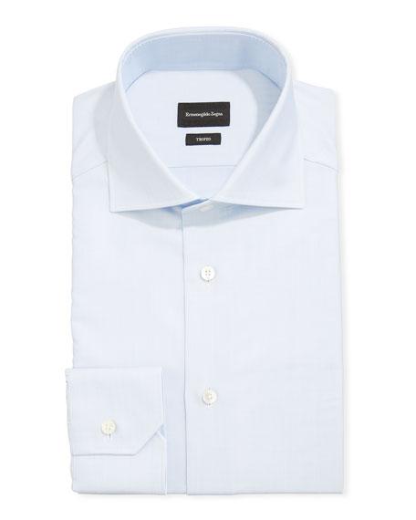 Men's Trofeo Herringbone Cotton Dress Shirt, Light Blue