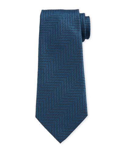 Men's Large Chevron Silk Tie  Teal