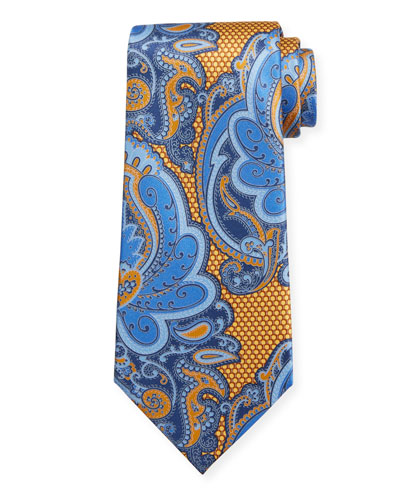 Exploded Paisley Silk Tie  Gold