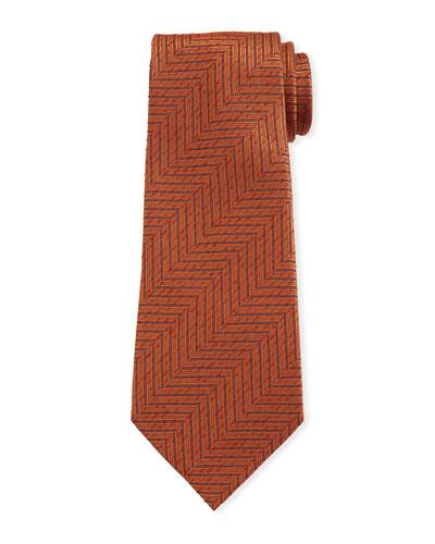 Men's Large Chevron Silk Tie  Rust