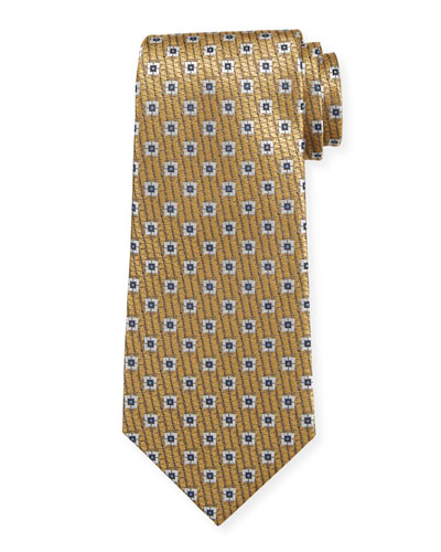Spaced Squares Silk Tie  Gold