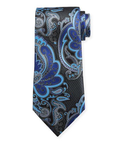 Exploded Paisley Silk Tie  Gray