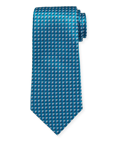 Shaded Squares Silk Tie  Teal/Blue