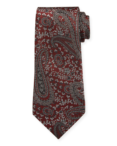 Woven Paisley Silk Tie  Red