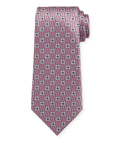 Spaced Squares Silk Tie  Pink