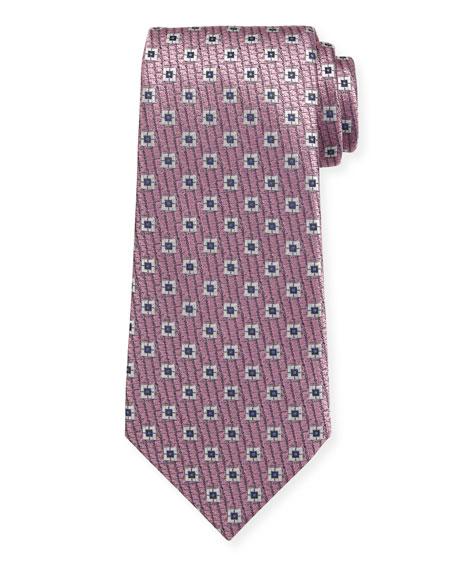 Spaced Squares Silk Tie, Pink