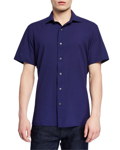 Men's Seersucker Short-Sleeve Sport Shirt  Navy