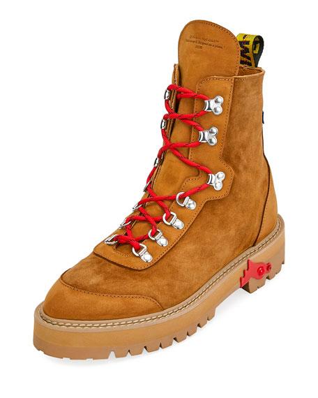 aa235a96c2e Men's Suede Logo-Web Hiking Boots