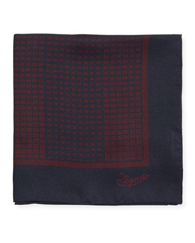Grid Check Silk Pocket Square  Red