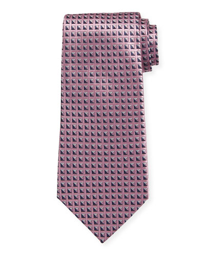 Shaded Squares Silk Tie  Pink