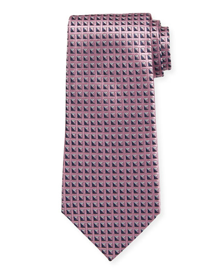 Shaded Squares Silk Tie, Pink