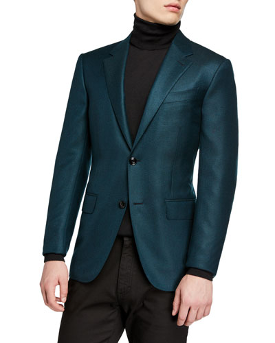Men's Cashmere Two-Button Jacket  Green