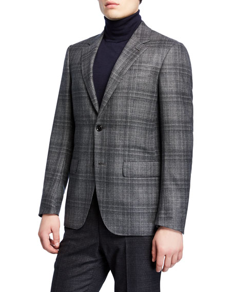 Men's Plaid Wool Sport Coat