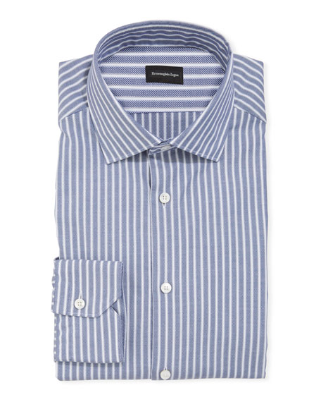 Men's Oxford Stripe Cotton Dress Shirt