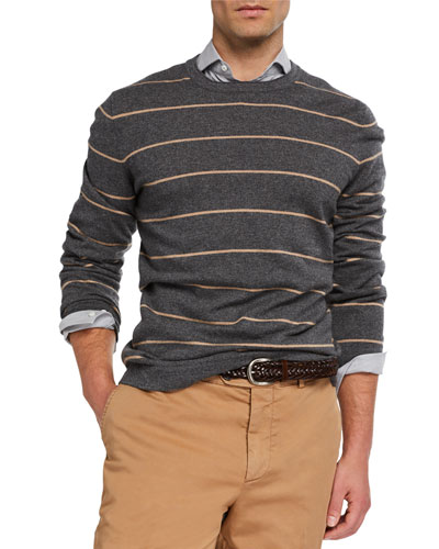Men's Wide-Striped Cashmere Sweater