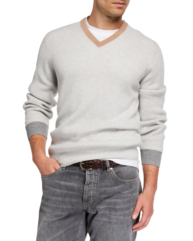 super popular 4f451 26e6f Men's Colorblock-Trim V-Neck Cashmere Sweater
