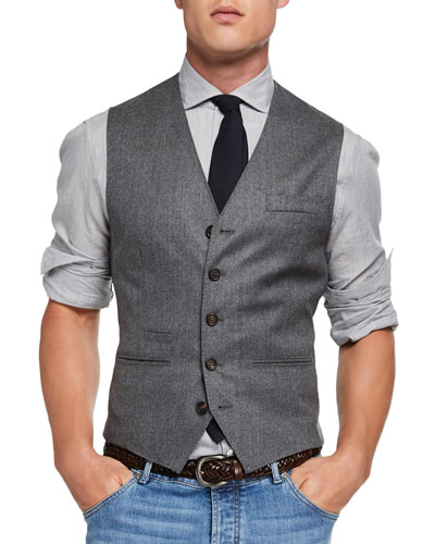 Men's Wool Flannel Gilet Vest