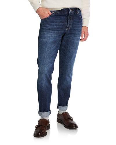 Men's Medium-Wash Slim-Fit Denim Jeans