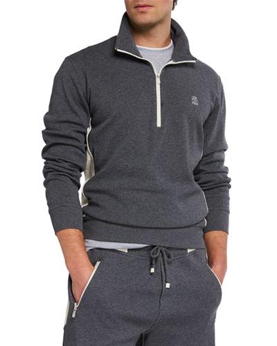 Men's Quarter-Zip Heathered Pullover Sweater