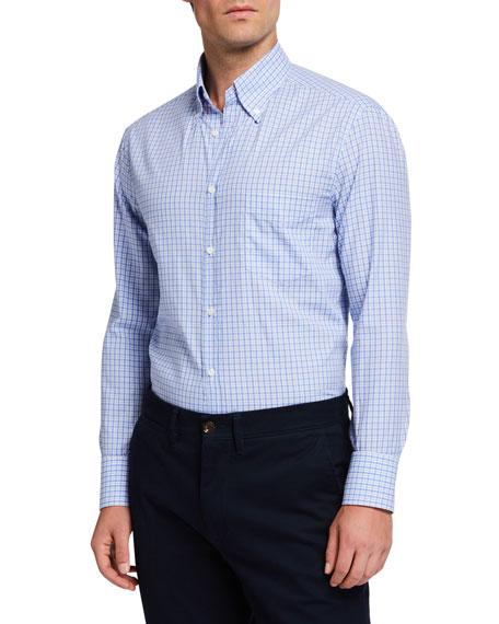 Men's Basic Plaid  Sport Shirt with Button-Down Collar