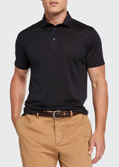 Men's Silk-Cotton Jersey Polo Shirt
