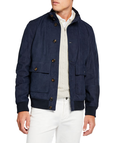 a7829c69587a08 Men's Suede Bomber Jacket w/ Banded Bottom Quick Look. Brunello Cucinelli
