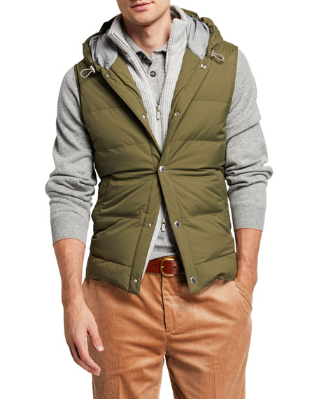Men's Quilted Puffer Vest with Cashmere Bib