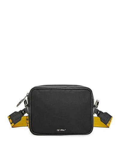 Men's Web-Strap Rectangle Crossbody Bag