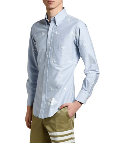 Men's Duck-Embroidered Oxford Sport Shirt