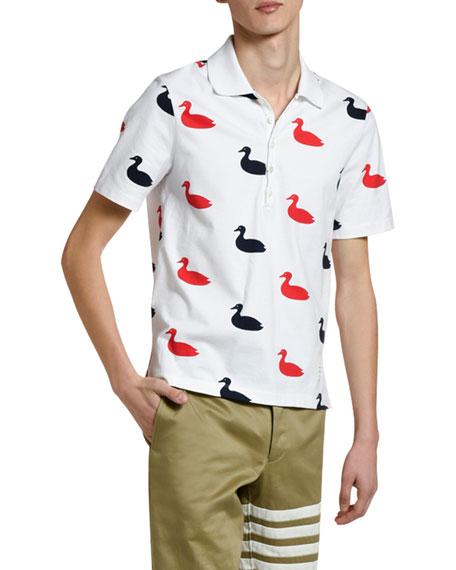 Men's Duck-Print Polo Shirt