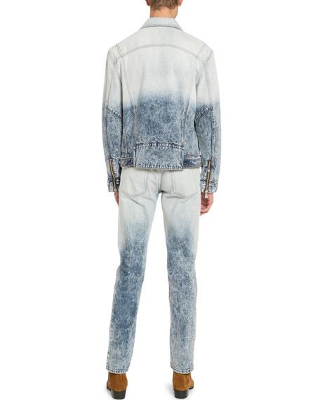 Men's Distressed Acid-Wash Denim Jacket