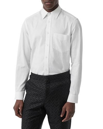 Men's Textured Solid Sport Shirt