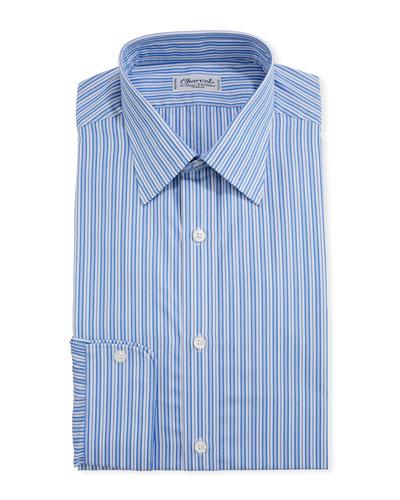 Men's Shadow-Stripe Cotton Dress Shirt