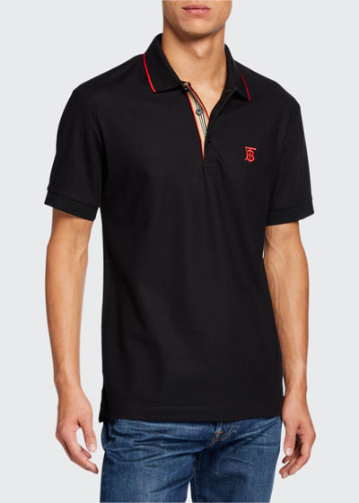 Men's Icon Stripe-Placket Polo Shirt  Black