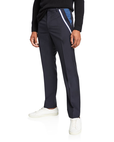Men's Ribbon Trim Wool-Blend Trousers