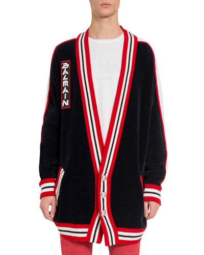 92c32091 Men's Oversized Striped-Trim Cardigan Quick Look. Balmain