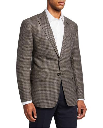 Men's Mini-Check Wool Two-Button Sport Coat  Brown