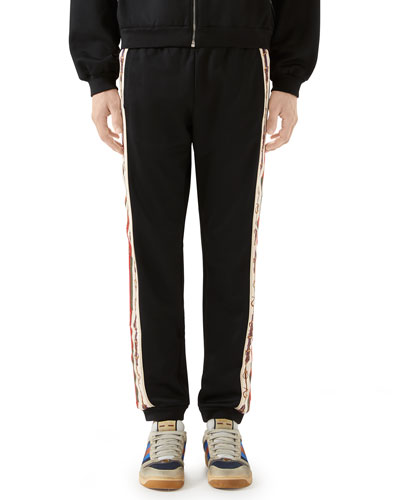 Men's Technical Jersey Track Pants w/ Chain Print