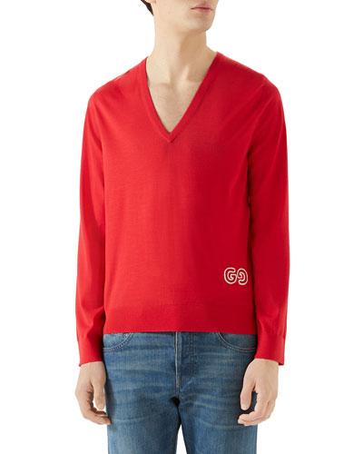 Men's V-Neck Logo-Applique Sweater