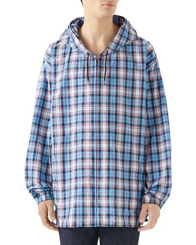 Men's Plaid Printed Wind-Resistant Hoodie