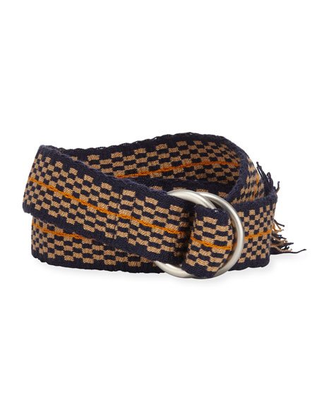 Men's Double D-Ring Check Belt, Yellow/Blue