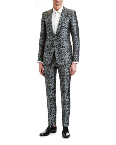 Men's Two-Piece Brocade Evening Suit